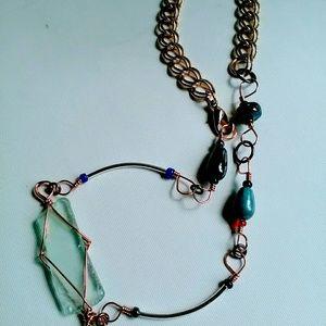 Handmade Beaded & Wrapped Seaglass Choker Necklace
